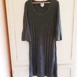 Gray Long Sleeved Cable Knit Sweater Dress
